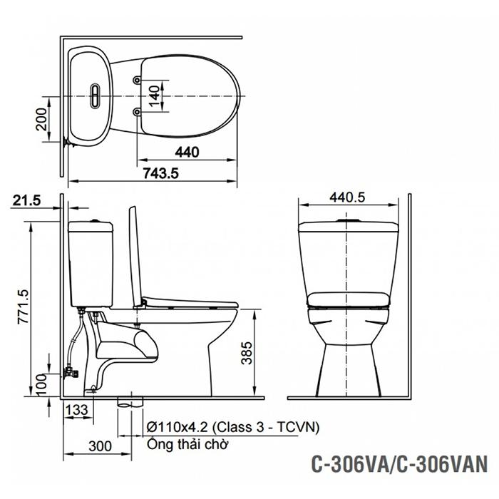Bàn cầu Inax C-306VA (C306VN) 2 khối nắp thường-1