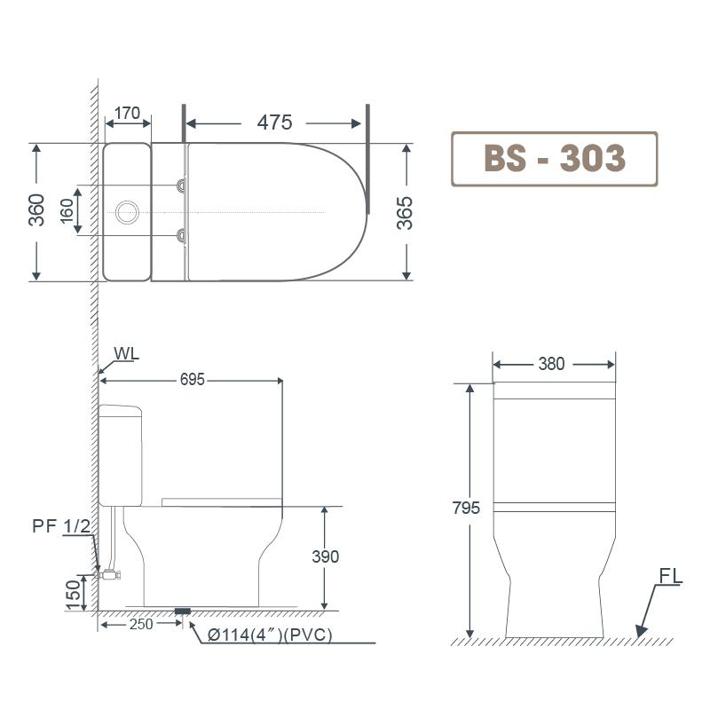 Bồn cầu 2 khối BS 303