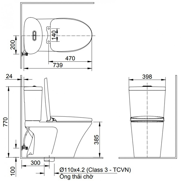 Bồn cầu Inax AC-700VAN (AC700VAN) 2 khối xả nhấn Aqua Ceramic-1