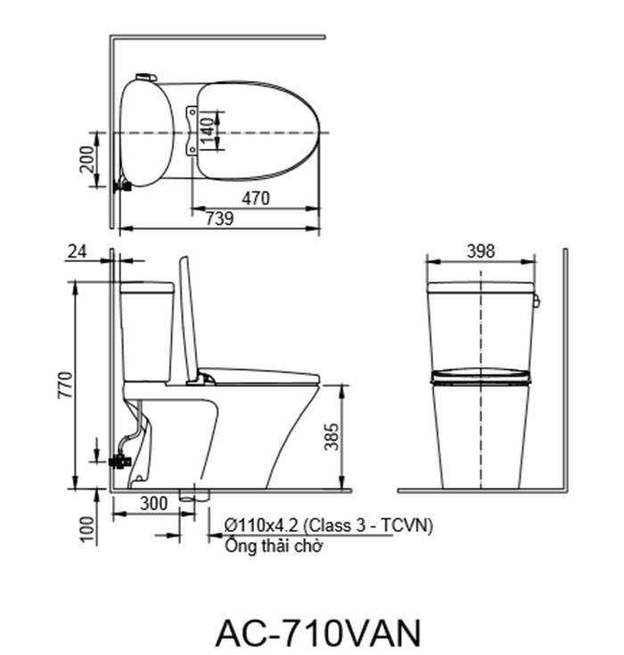 Bồn cầu Inax AC-710VAN (AC710VAN) 2 khối xả gạt Aqua Ceramic-1