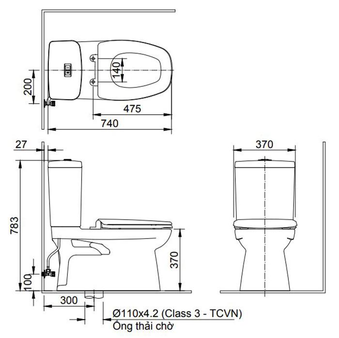 Bồn cầu Inax AC-808VN (AC808VN) 2 khối xả nhấn Aqua Ceramic-1