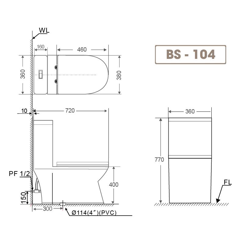 Bồn cầu liền khối BS 104-1