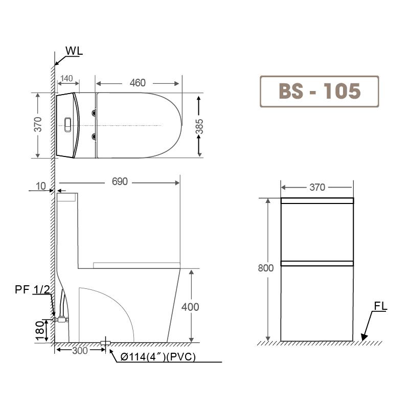 Bồn cầu liền khối BS 105