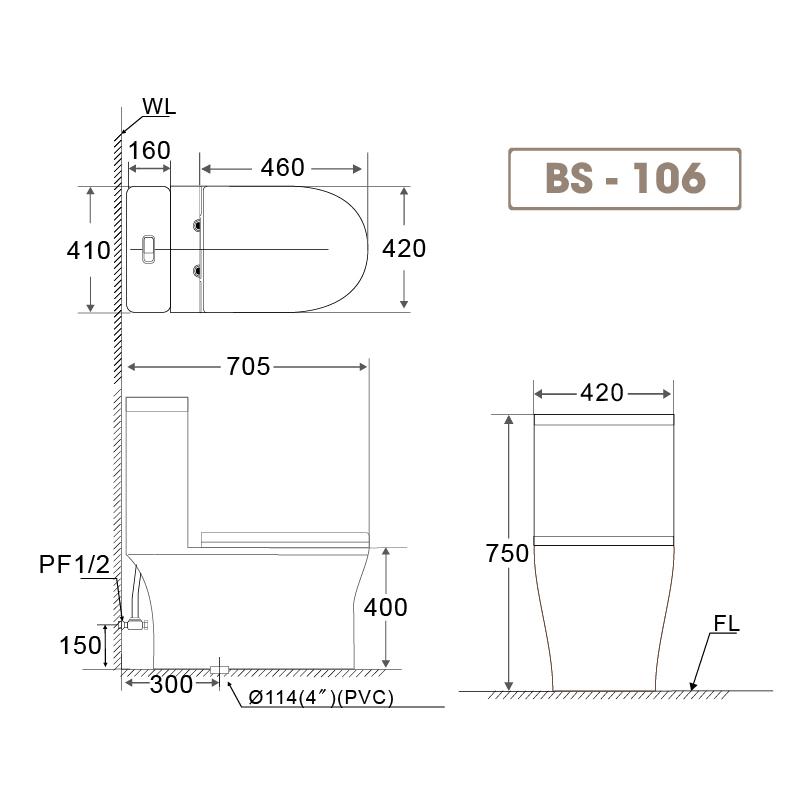 Bồn cầu liền khối BS 106