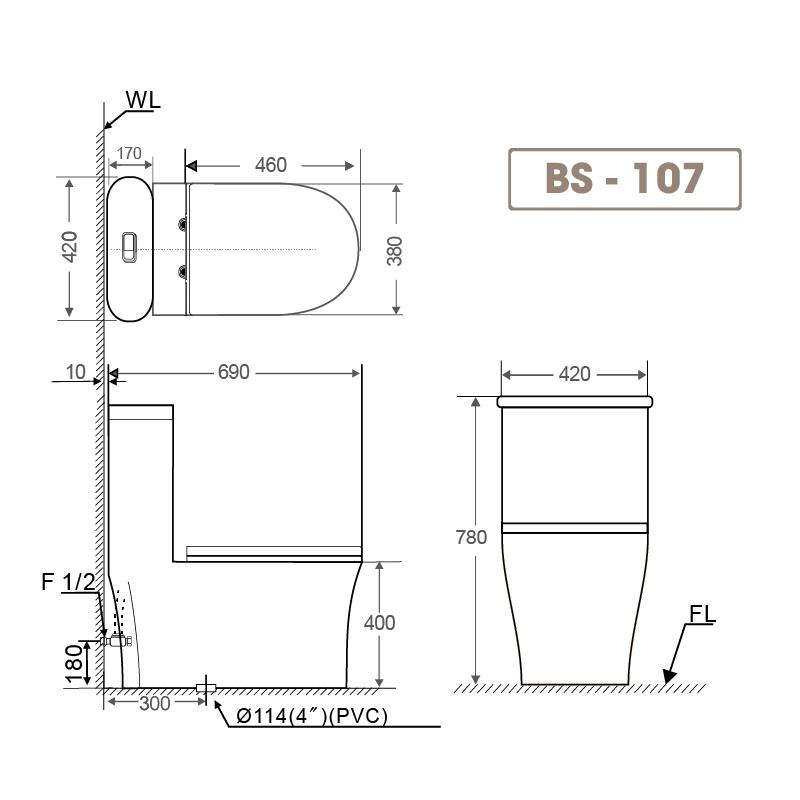 Bồn cầu liền khối BS 107-1