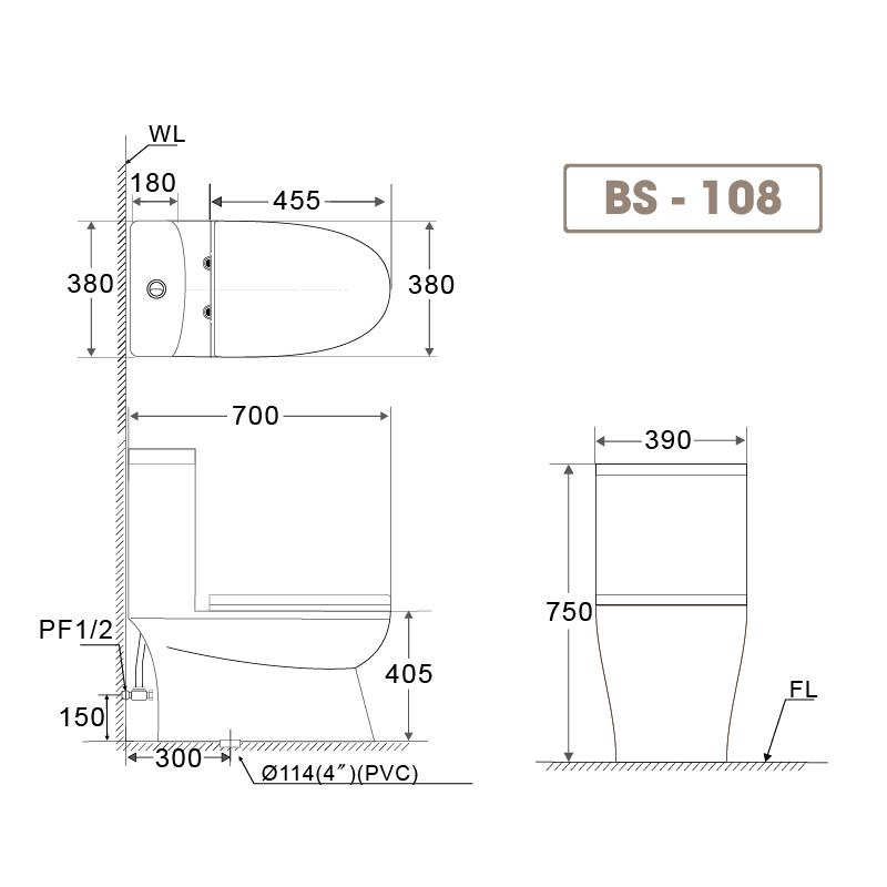 Bồn cầu liền khối BS 108-1