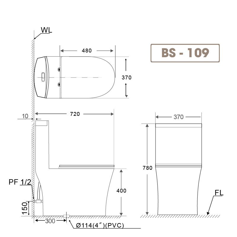 Bồn cầu liền khối BS 109-1
