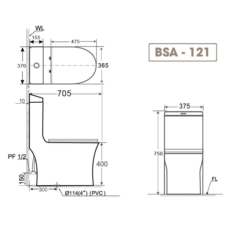 Bồn cầu liền khối BSA 121-2