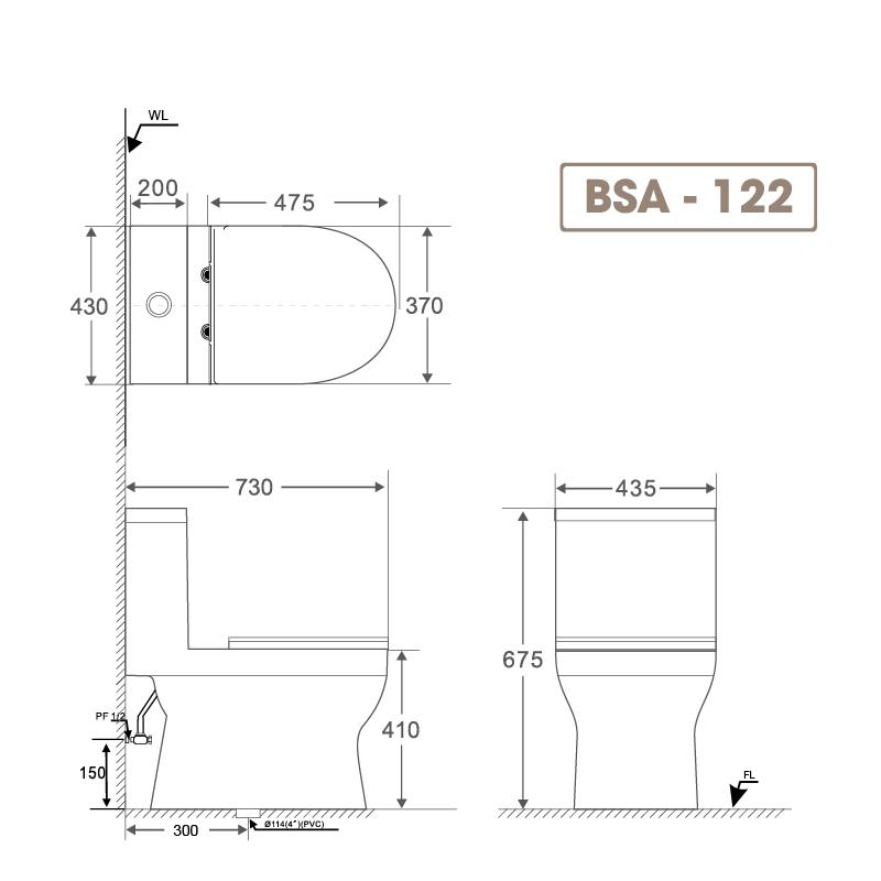 Bồn cầu liền khối BSA 122-2