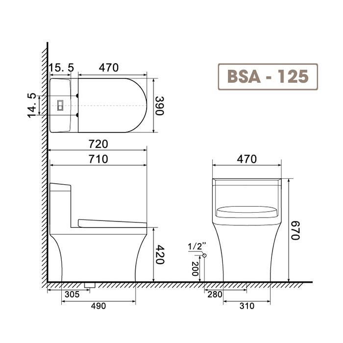 Bồn cầu liền khối BSA125-3