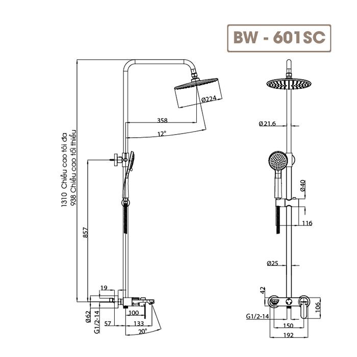 Sen cây tắm đứng BW-601SC-5
