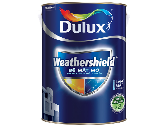 Sơn ngoại thất Dulux weathershield bề mặt mờ 5L