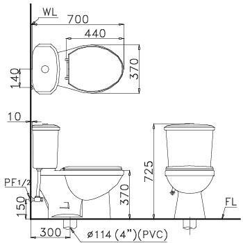 Bàn cầu hai khối Caesar (nắp êm) - CT1338