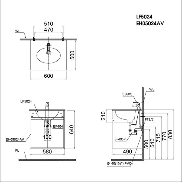 Bộ Lavabo + Tủ Treo Caesar - LF5024 + EH05024AV-02