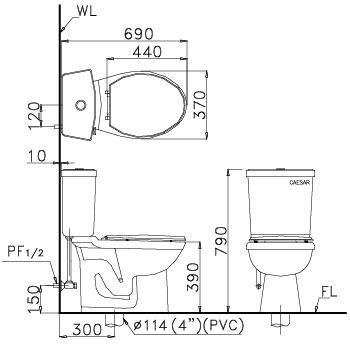 Bồn cầu 2 khối Caesar CD1325 thùng T1225 nhấn nắp thường-1