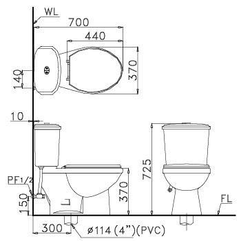 Bồn cầu Caesar 2 khối CD1338 thùng T1238 nhấn nắp thường