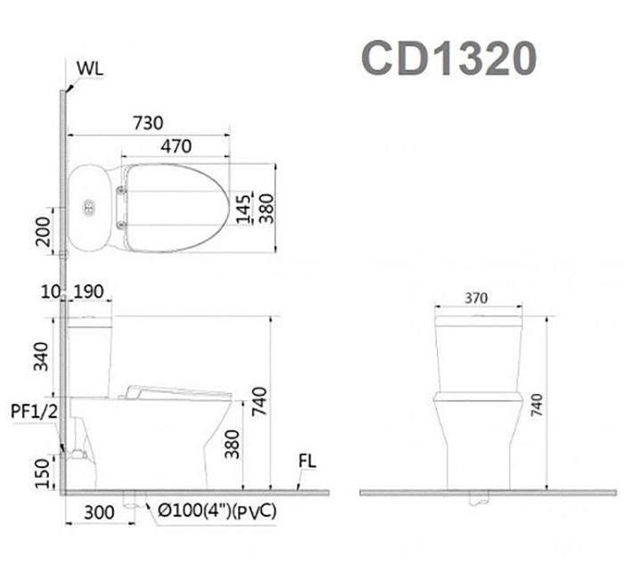 Bồn cầu Caesar CD1320 cao cấp-1