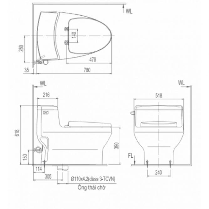 Bồn Cầu INAX AC-4005VN (AC4005VN) Một Khối Aqua Ceramic Mới-1