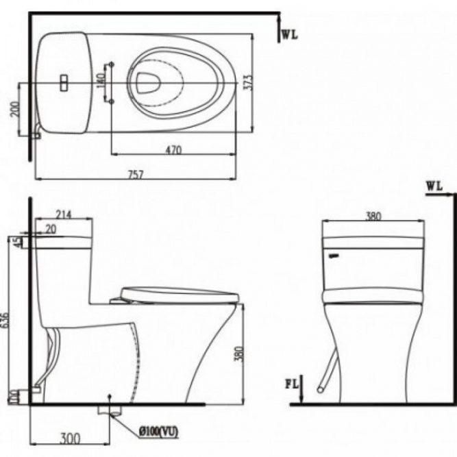 Bồn Cầu INAX AC-900VRN (AC900VRN) 1 Khối Aqua Ceramic-1