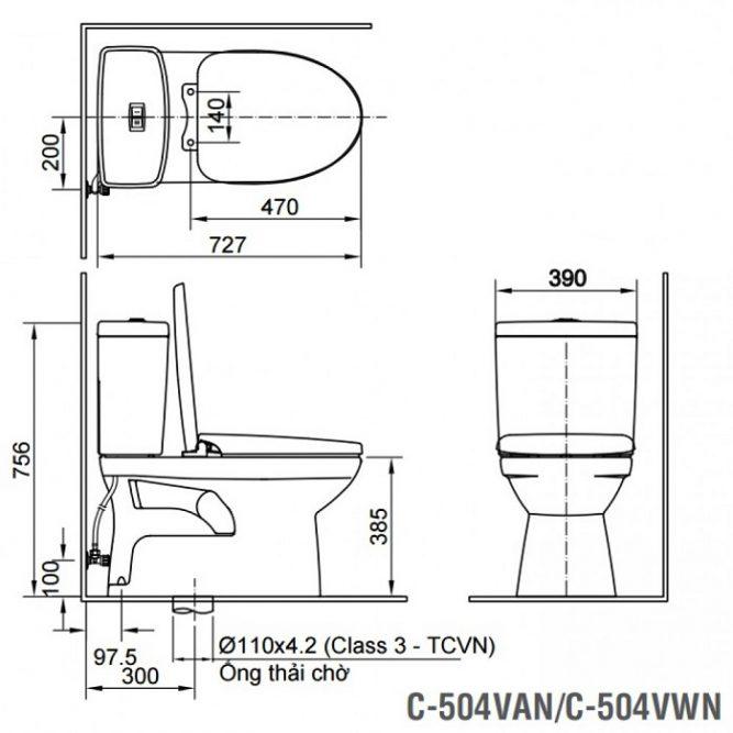Bồn Cầu INAX C-504VAN (C504VAN) Hai Khối Nắp Êm-1