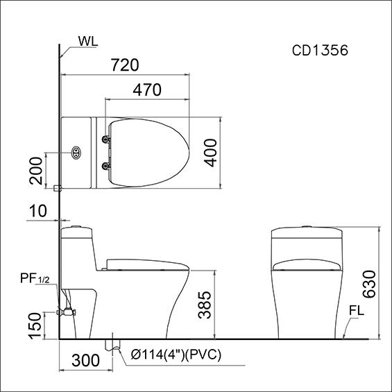 Bồn cầu một khối Caesar CD1356-02