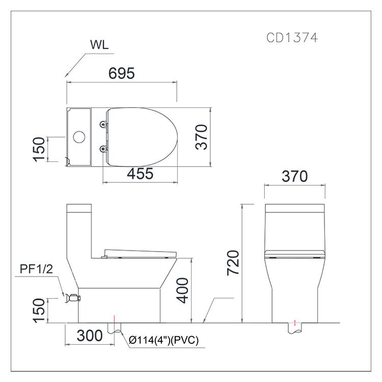 Bồn cầu một khối Caesar CD1374-02