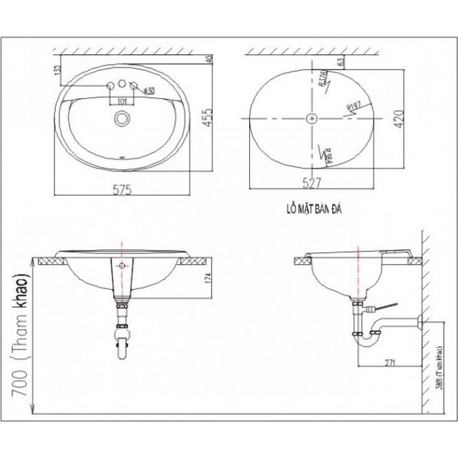 Chậu Lavabo Âm Bàn Inax L-2395V Dương Vành-1