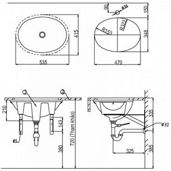 Chậu Lavabo Inax AL-2293V Âm Bàn Aqua Ceramic-1