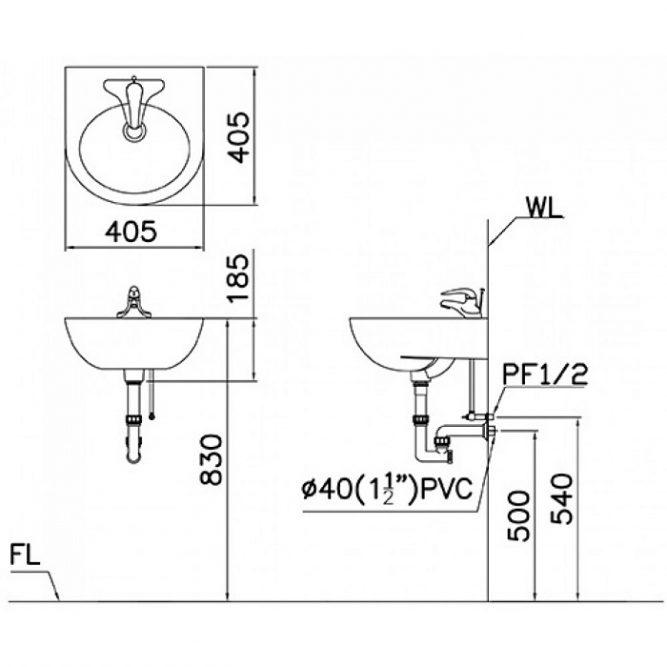 Chậu Lavabo Treo Tường CAESAR L2140-1