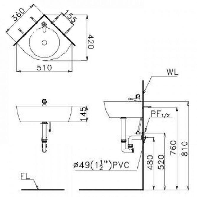 Chậu Rửa Lavabo CAESAR L2014 Góc Treo Tường-1