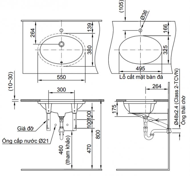 Chậu Rửa Lavabo Inax L-2216V Âm Bàn Oval-1