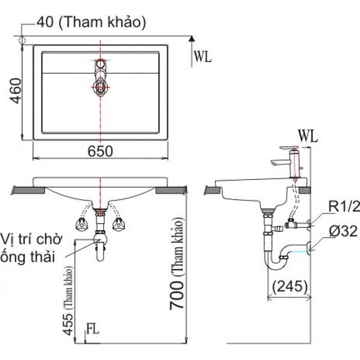 Chậu Rửa Lavabo Inax L-2397V Dương Vành-1