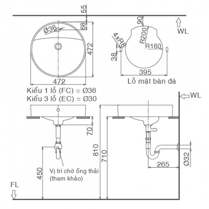 Chậu Rửa Lavabo Inax L-294V Để Bàn Tròn-1