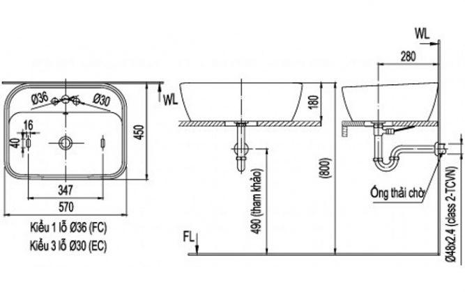 Chậu Rửa Lavabo Inax L-296V Đặt Bàn Chữ Nhật-1
