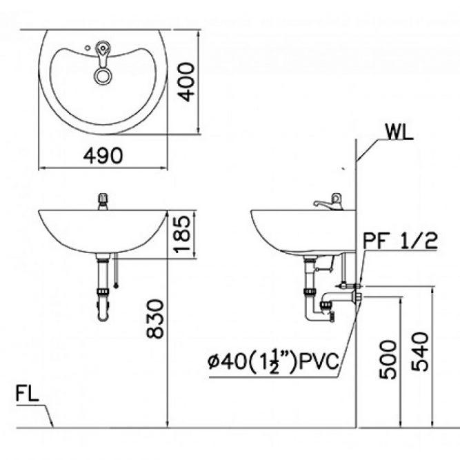 Chậu Rửa Lavabo Treo Tường CAESAR L2150-1