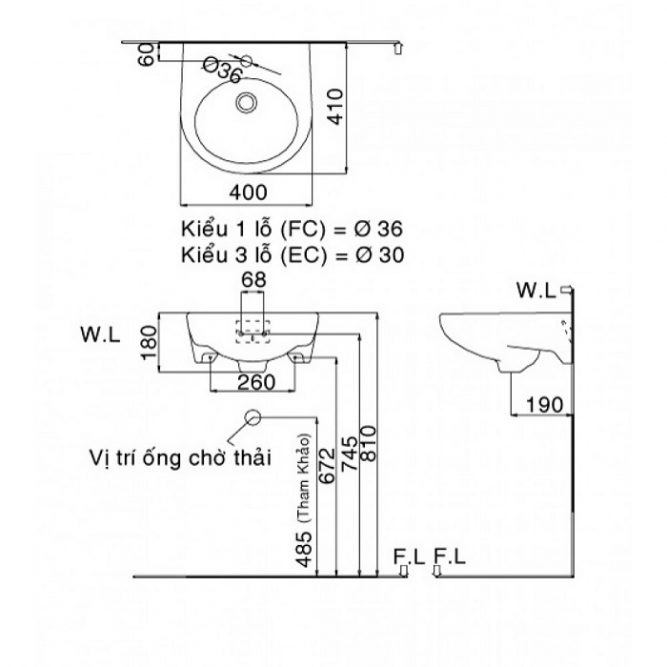 Chậu Rửa Mặt Inax L-282V Treo Tường Cỡ Nhỏ-2