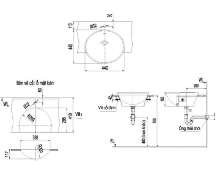 Chậu Rửa Mặt Lavabo Inax AL-333V Bán Âm Aqua Ceramic-1