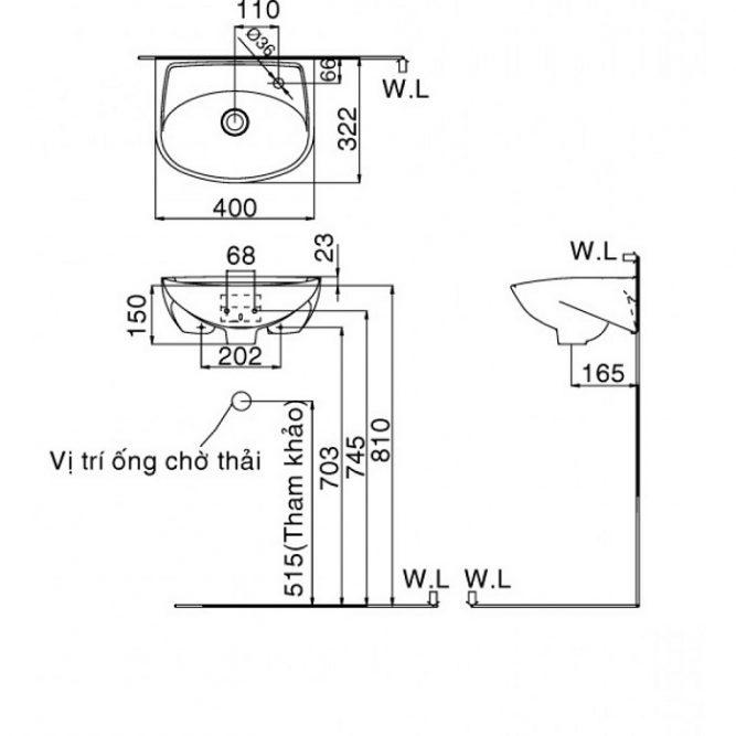 Chậu Rửa Mặt Lavabo Inax L-280V Treo Tường Cỡ Nhỏ-1
