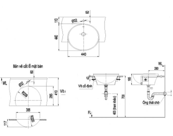 Chậu Rửa Mặt Lavabo Inax L-333V Bán Âm Tròn-1