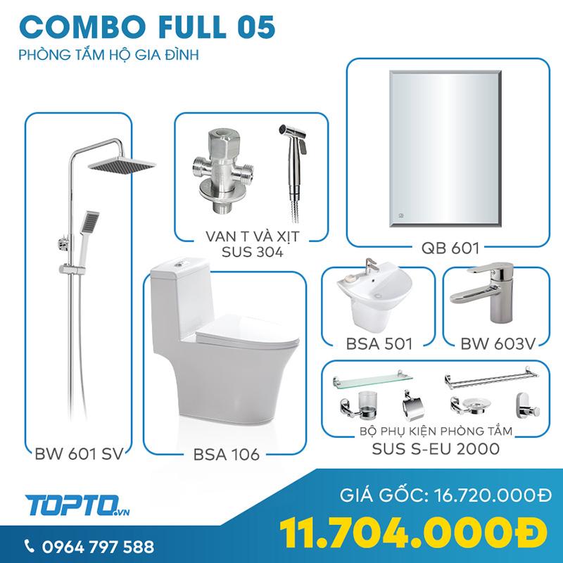Combo thiết bị vệ sinh Full CB05 cao cấp chính hãng