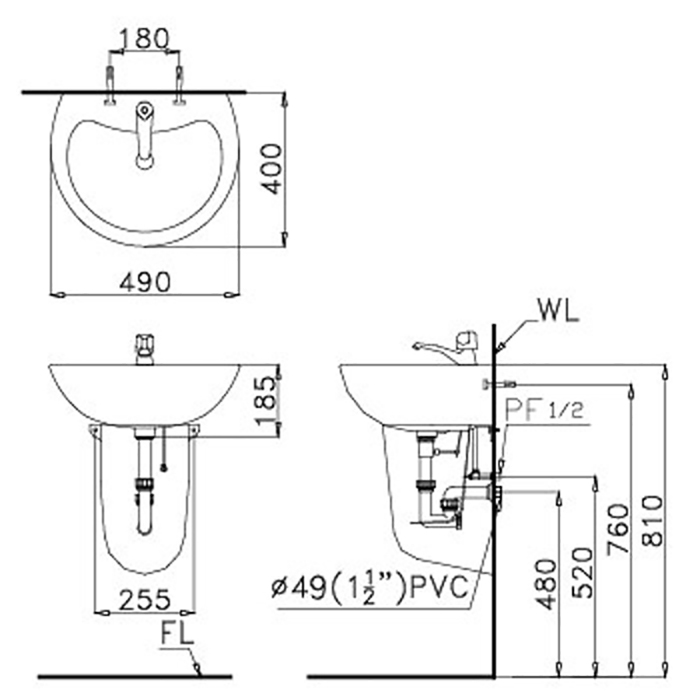 Lavabo treo Caesar L2150 - P2441 hiện đại-2