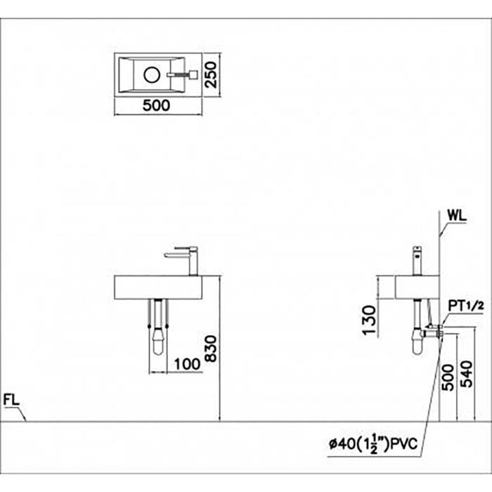 Lavabo vuông treo - LF5239S-2