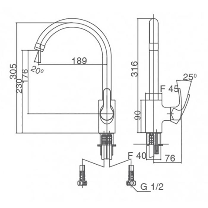 Vòi bếp nóng lạnh Inax SFV-802S-2