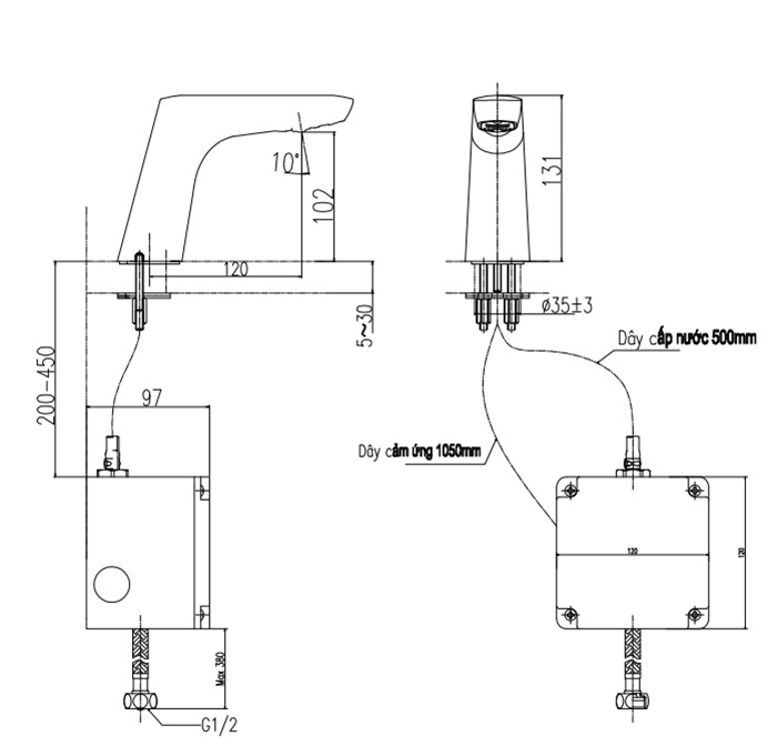 Vòi cảm ứng Inax AMV-50B-3