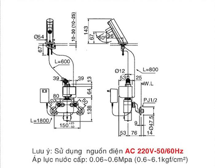 Vòi cảm ứng Inax AMV-90(220V) lạnh dùng điện-3