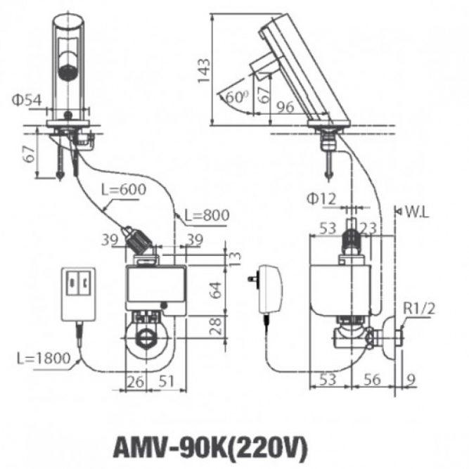 Vòi cảm ứng Inax AMV-90K(220V) nóng lạnh dùng điện-1