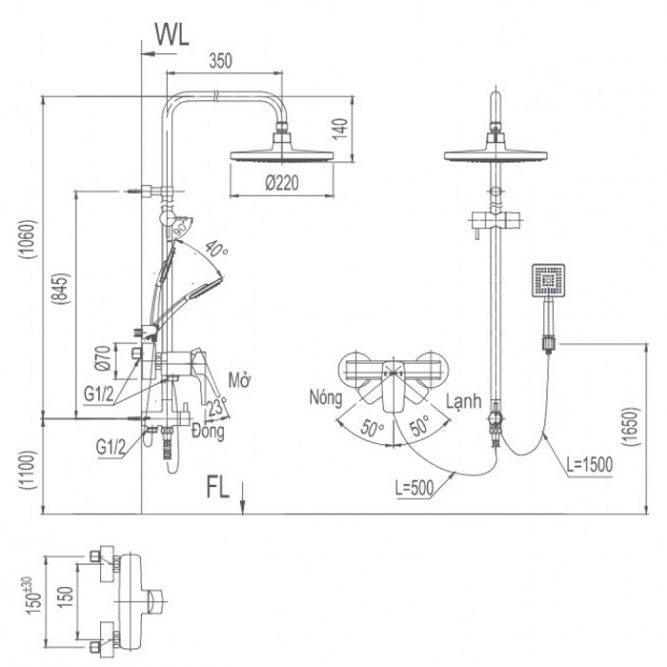Vòi cây sen tắm Inax BFV-50S nóng lạnh-1