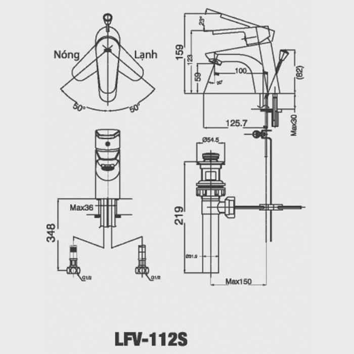 Vòi chậu Lavabo Inax LFV-112S nóng lạnh-1-1