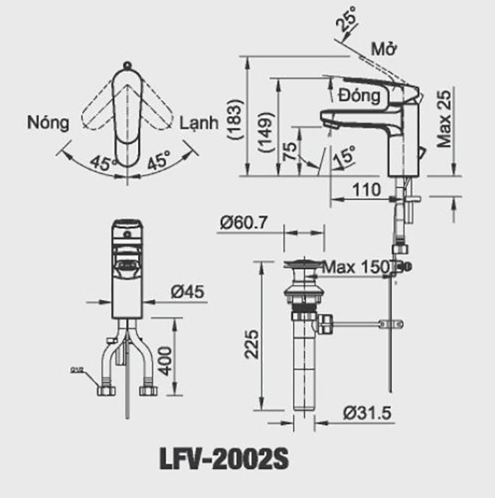 Vòi chậu lavabo Inax LFV-2002S nóng lạnh-1