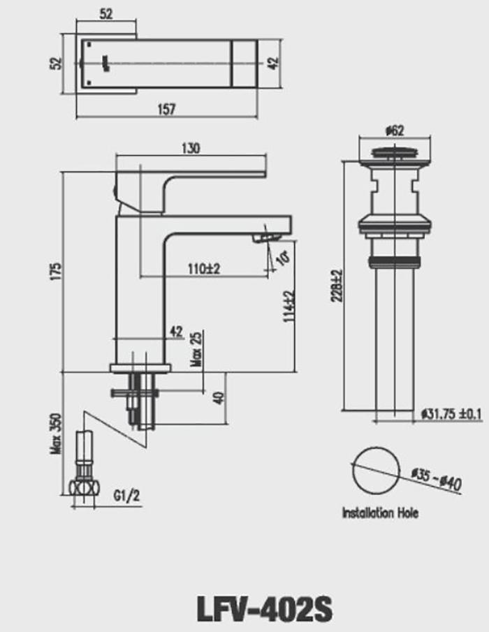 Vòi Lavabo nóng lạnh Inax LFV-402S-2